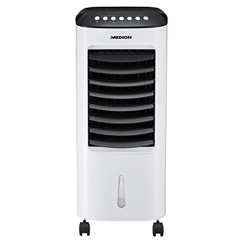 MEDION Luftkühler mit Wasserkühlung (3 Gebläsestufen, Timer, 4 Rollen, 6 Liter Tank, Fernbedienung, 65 Watt Leistung, Swing-Funktion, Luftdurchsatz 234 qm/h, MD19424)
