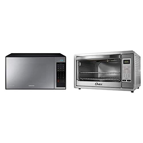 Samsung MG14H3020CM 1.4 cu. ft. Countertop Grill Microwave Oven, Ceramic Enamel Interior, Black Mirror Finish & Oster Extra Large Digital Countertop Convection Oven, Stainless Steel (TSSTTVDGXL-SHP)