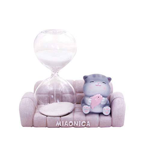 Artibetter Sanduhr Sanduhr Sanduhr Timer mit Katze Figur Statue Ornament Zähne Putzen Tee Zeit Spielzeug für Büro Dekoration