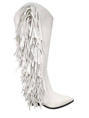 Cape Robbin Cowtown Cowboy Mid Calf Boots Women, Western Cowgirl Boots with Chunky Block Heels, Fashion Dress Boots for Women - White Size 9