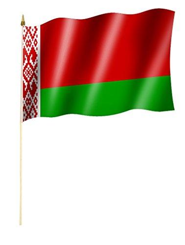 Sportfanshop24 Stockflagge/Stockfahne WEIßRUSSLAND/Belarus Flagge/Fahne ca. 30 x 45 cm mit ca. 60cm Stab/Stock