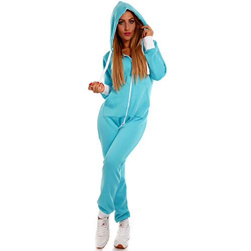 Crazy Age Basic Jumpsuits Ganzkörperanzug Einteiler One Piece Schlafanzug Mini Jumpsuit Kurz (XXL, Türkis)
