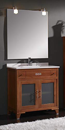 ARTEMA Mueble de baño con Lavabo y Espejo con luz (80 CM). 2 cajones y 2 Puertas. Estilo clásico, Color Cerezo