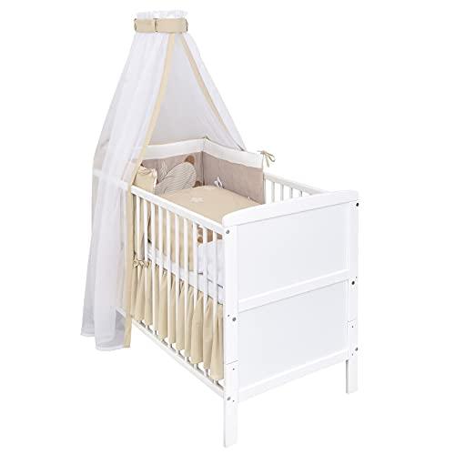 Baby Delux Babybett Komplettset umbaubar Juniorbett weiß 140x70 mit mehrteiligem Bettset Sleeping Teddy