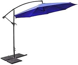 XtremepowerUS Premium 10'ft Offset Patio Umbrella Cantilever Hanging and Crank w/Cross Base, Blue