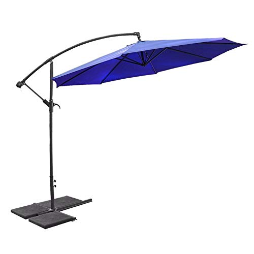 XtremepowerUS 96067 10'ft Offset Patio Umbrella Cantilever Hanging and Crank w/Cross Base, Blue