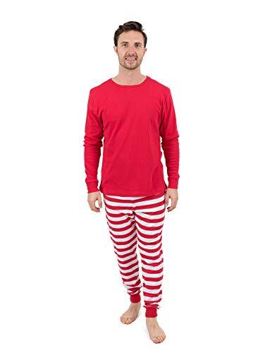 Leveret Mens Pajamas Red Top Striped Pants 2 Piece Pajama Set 100% Cotton Size Large