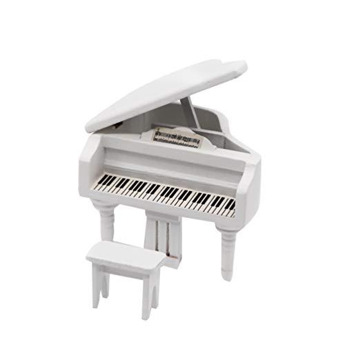 EXCEART Miniatura fortepian model 1/12 skala domek dla lalek instrument muzyczny ornamenty prezent mini dekoracja meble akcesoria dla dzieci dziewczynki biały