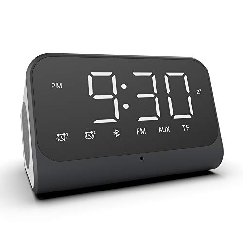 Alarm Clock for Bedroom,Bluetooth Alarm Clock Radio with USB Charger,Bluetooth Speaker,FM Radio,Dual Alarm,Support Hands-Free Call,Large LED Display,Smart Alarm Clock for Heavy Sleepers Teens Kids