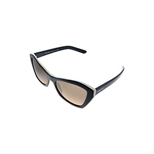 Prada Women's 0PR 07XS Sunglasses, Black White/Orange Grey Shaded, 55