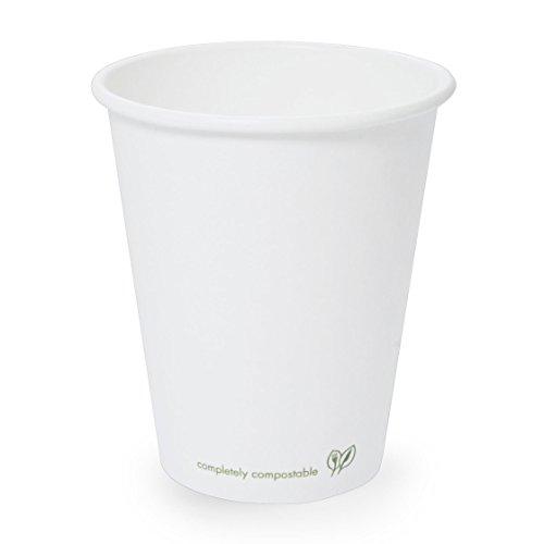 Plantvibes® 50 edle Bio Kaffeebecher, 100{6f3abf9a94aade98b1b6e4a4c6cf02077508b9a2df374861b82195e23ffa2f86} kompostierbar, Pappbecher für Heißgetränke, Coffee to go