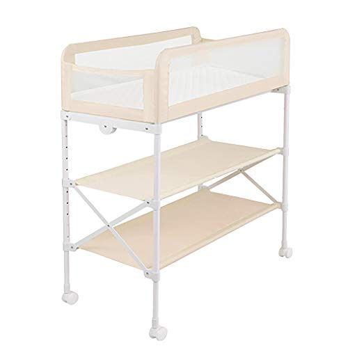 Baby Wickelstation, Multifunktions-Faltbare Heim Dusche Tisch HöHenverstellbarer Aufstockung Zaun Kinderbett Klapp Windel-Station Kinder Organizer FüR SäUgling