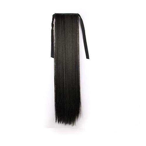 Perruque Mme. Longue et courte queue de cheval pince brucelles extension invisible de cheveux, 40CM naturel noir