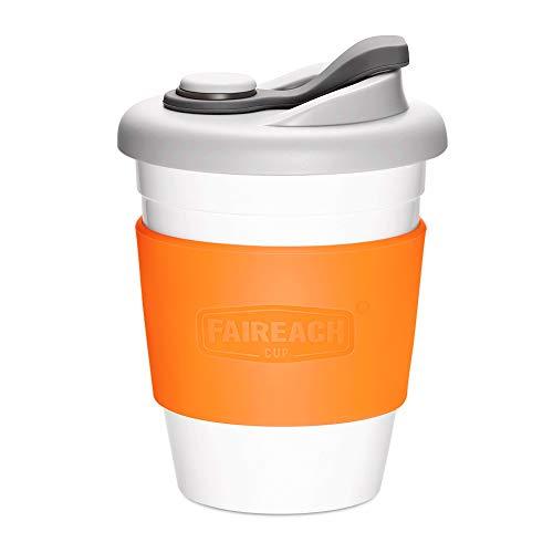 Faireach Coffee to Go Becher 340ml / 12oz, Mehrweg Kaffeebecher mit Deckel für Kaffee & Tee, Eco Reisebecher Cafe, BPA-frei, Spülmaschinenfest & Mikrowellengeeignet, Orange
