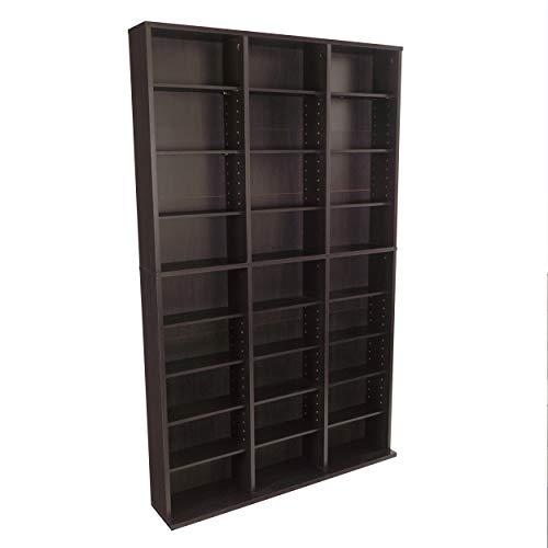 Atlantic Oskar Adjustable Media Cabinet - Holds 756 CDs, 360 DVDs or 414 Blu-Rays/Games, 21 Adjustable and 6 Fixed Shelves PN in Espresso