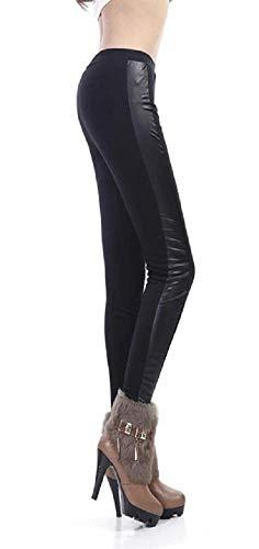 Legging - broek - legging - fuseaux - vrouw - zijstreep - kunstleer - mode - zwarte kleur - steampunk - retro - gothic dark