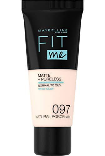 Maybelline New York - Fond de Teint Fluide Ton sur Ton Fit me! Matte and Poreless - Teinte : 97 Porcelaine naturelle, NU