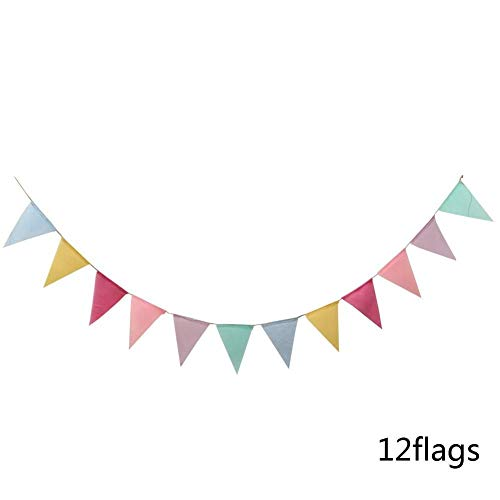 HYLEI 12 Flags 4M Banner Birthday Party Decoration Hanging Pennant Wedding Bunting Baby Shower Garland Tent Fabric Flags
