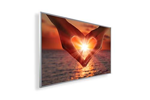 Könighaus Bildheizung (Infrarotheizung mit hochauflösendem Motiv) 5 Jahre Garantie (450-Sonnenuntergang Hand Herz) - inkl. Thermostat
