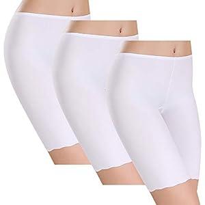 31hSmDUS6NL. SS300  - UMIPUBO Bragas Algodon Mujer Seda de Hielo Boxer Short Leggings Cortos Basic Long Pantalon Falda Leotardos de Seguridad Ropa Interior Pack de 3