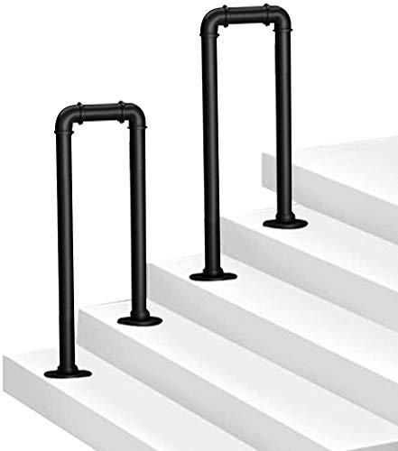 2-Steps U-Shaped Handrail Brackets Stair Rail Wrought Iron Galvanized Pipe Step for Villa Indoor and Outdoor Aged Children's Loft Corridor Safety Support Bar, Hotel Garden (75cm/2.46ft)