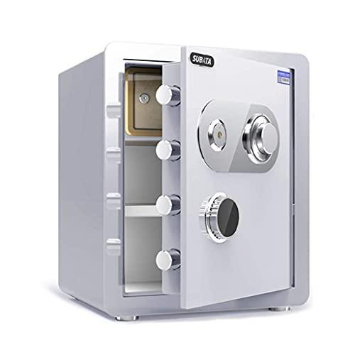 Caja fuerte de seguridad, caja fuerte de acero, gabinete de seguridad de gran capacidad de 45 cm, ignífugo, impermeable y antirrobo, llave de bloqueo de código mecánico Caja de almacenamiento de dobl