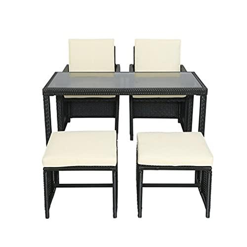 lemeibaihuo Zis - Mueble de jardín (ratán sintético, 1 mesa de cristal, 2 herramientas para pies, 2 sillas de mimbre, muebles de patio al aire libre