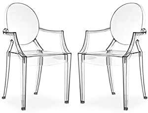 Milani Home s.r.l.s. Set di 2 Sedie Moderne di Design in Policarbonato Trasparente per Sala da Pranzo Cucina Ufficio Ristorante Bar