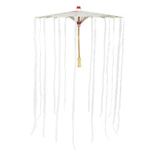 Perform Prop intage Sonnenschirm geöltes Papier Regenschirm schönes Band zartes Muster Holz für Wohnzimmer Geschäft (milchig weiß Streamer, blau)