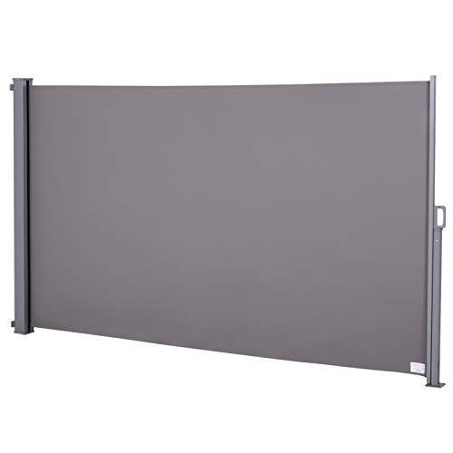 Outsunny Seitenmarkise, Sichtschutz, Sonnenschutz, Seitenrollo, Blickschutz, Polyester, Grau, 300 x 160 cm