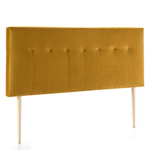 marckonfort Cabezal tapizado Nápoles 140x100 cm Mostaza, para Cama 135, Terciopelo, Patas de Madera, herrajes incluidos