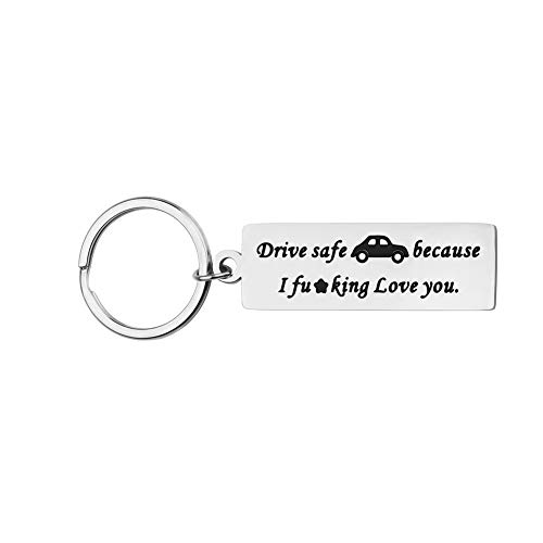 Boyfriend Gifts Father's Day Gifts Keychain for Husband Dad Drive Safe Keychain Gifts I Love You Gifts New Driver Trucker Gifts for Boyfriend Son Birthday Gifts Key Ring Stocking Stuffers
