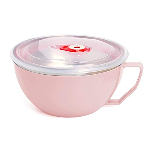 YUZZZKUNHCZw Bowls, Solid Stainless Steel Handle Bowl Food Container Rice Bowl Soup Bowl Instant Noodles With Lid (Color : Pink)