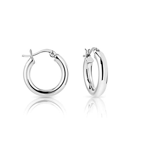 DTPSilver - 925 Sterling Silver Creole Hoops Earrings - Thickness 4 mm - Diameter 20 mm
