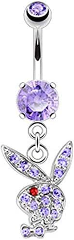 Covet Jewelry Multi Paved Gems on Playboy Bunny Dangle 316L Surgical Steel Navel Ring