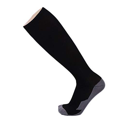 GKKXUE Kupfer-Faser-Nylonsocken, dünne Fußball Kompressionssocken, Männer und Frauen Sport elastische Socken (Farbe : SCHWARZ, größe : One Size)