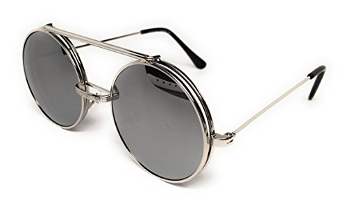 WebDeals - Round Flip Up Steampunk Flip-Up Metal Django Sunglasses (Silver, Silver Mirror)