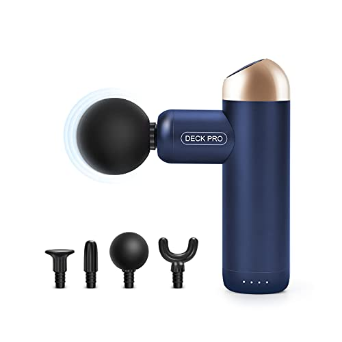 Mini Massage Gun Professional Deep Tissue Percussion Muscle Massager for Full Body Pain Relief Electric Handheld Fascia Gun with 4 Speeds & 4 Heads, Lightweight, Portable, Long Battery Life Blue