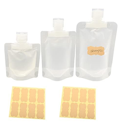 SMMUSEN 15 piezas 30 ml/50 ml/100 ml portátil viaje líquido cosmético, bolsa de empaquetado transparente de la cubierta de plástico Stand Up Spout Pouch, para loción/champú/jabón de mano