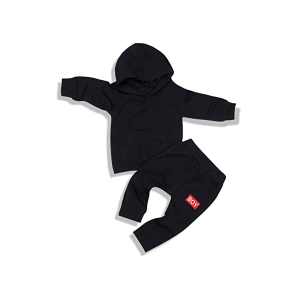 Toddler Baby Boy Clothes Long Sleeve Hoodie Sweatshirt Pants Infant Solid Color Fall Winter Outfits Set