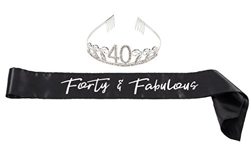 40th Birthday Tiara and Sash - Gift for Women with Forty and Fabulous Satin Sash and Rhinestone Tiara Crown Set for Gift Party Supplies and Decorations