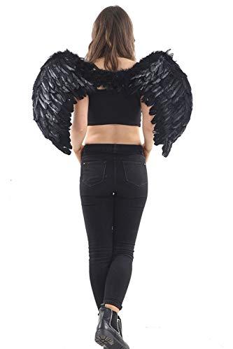 Hi Fashionz Womens Fancy Novelty Fairy Wings Ladies Bumblee Bee Forniture per Feste di Addio al Nubilato (Ali di Piume Nere) Medium (60x40cm)
