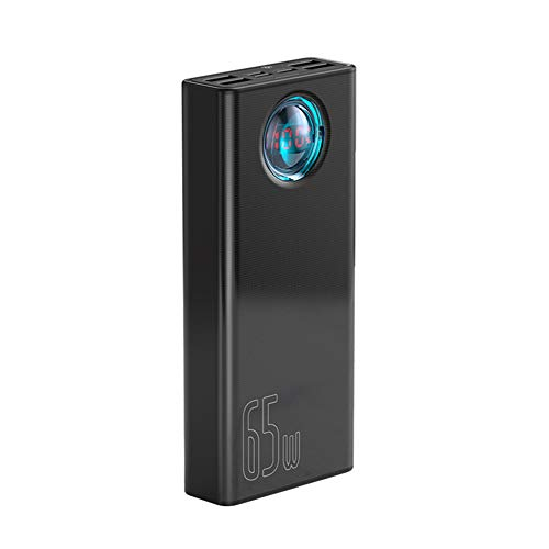 XYY Power Bank 30000mAh 65W PD Cargo RÁPIDO QC3.0 PowerBank para computadora portátil Cargador de batería Externo para Huawei iPhone Samsung Xiaomi,Negro