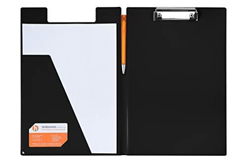 Heidemann Aufklappbare Klemmbrettmappe DIN A4 farbig (schwarz)