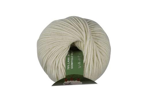 DELFINO Iris Gomitolo 70% Lana e 30% Acrilico - Disponibile in più Colori e Spessori - Filato Colore Panna (402) - 100gr Circa 150 Metri - 100% Made in Italy