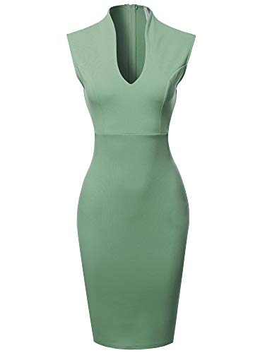 Made by Emma Fitted Elegant Sleeveless Formal Cocktail Party Pencil Midi Dress Dusty Sage S