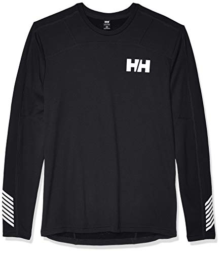 Helly Hansen Men's HH LIFA Active Lightweight 2-Layer Long-Sleeve Crewneck Thermal Baselayer Top, 991 Black, Large