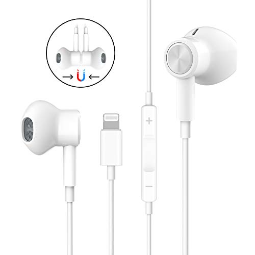 Headphones for iPhone, Stereo Earphones for iPhone 8 Magnetic in-Ear Headphones Wired Earbuds with Mic and Remote Compatible with iPhone 11/11 Pro Max/iPhone X/XS Max/XR iPhone 8/8 Plus iPhone 7 Plus
