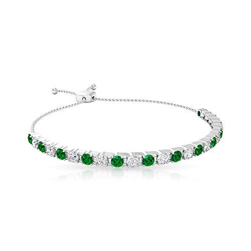 Pulsera vintage con certificación IGI de diamantes esmeralda, clásica de mayo, pulsera bolo, claridad de color IJ-SI, para mujer, 18K Oro blanco