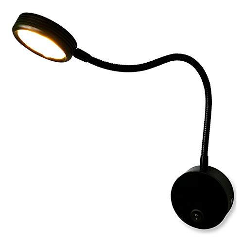 Lámpara LED Lámpara de pared Lámpara de noche 3W Manguera simple Proyector Fondo Lámpara de pared Dormitorio Lectura Interruptor de la lámpara de pared Negro. 1 (Color: luz blanca)